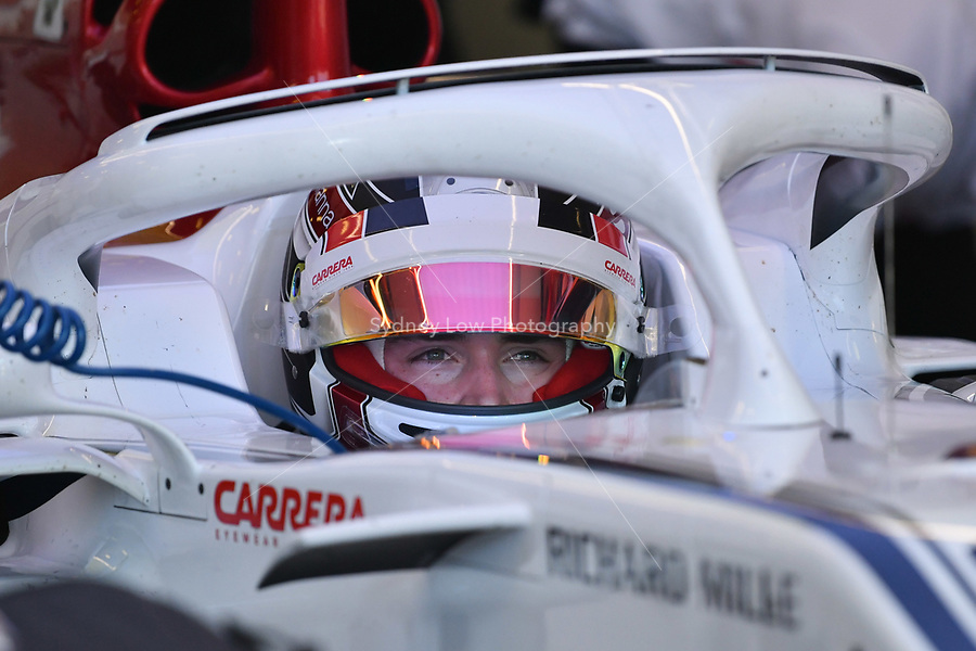 March 23, 2018: Charles Leclerc (MCO) #16 from the Alfa Romeo Sauber F1 Team sits in his car during practice session two at the 2018 Australian Formula One Grand Prix at Albert Park, Melbourne, Australia. Photo Sydney Low