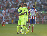 FC Barcelona´s Messi and Neymar Jr celebrating goal of Messi