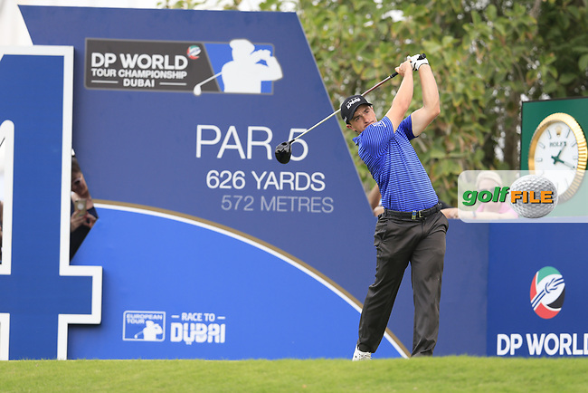 Paul Dunne (IRL) on the 14th tee during the 3rd round of the DP World Tour Championship, Jumeirah Golf Estates, Dubai, United Arab Emirates. 17/11/2018<br /> Picture: Golffile | Fran Caffrey<br /> <br /> <br /> All photo usage must carry mandatory copyright credit (&copy; Golffile | Fran Caffrey)