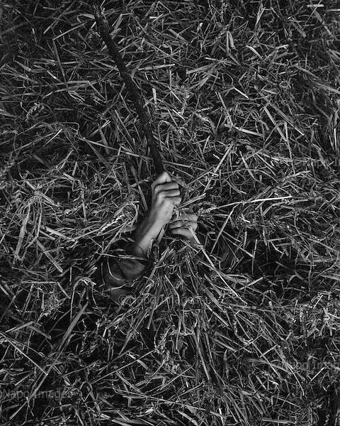 Grzybowo 2015 Poland<br /> child in a haystack<br /> <br /> Adam Lach / Napo Images dla Kolekcja Wrzesinska