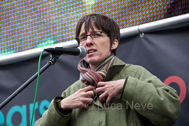 Alison Louise Kennedy (Scottish writer of novels, short stories and non-fiction).<br /> <br /> London, 08/10/2011. Today Trafalgar Square was the stage of the &quot;Antiwar Mass Assembly&quot; organised by The Stop The War Coalition to mark the 10th Anniversary of the invasion of Afghanistan. Thousands of people gathered in the square to listen to speeches given by journalists, activists, politicians, trade union leaders, MPs, ex-soldiers, relatives and parents of soldiers and civilians killed during the conflict, and to see the performances of actors, musicians, writers, filmmakers and artists. The speakers, among others, included: Jeremy Corbin, Joe Glenton, Seumas Milne, Brian Eno, Sukri Sultan and Shadia Edwards-Dashti, Hetty Bower, Mark Cambell, Sanum Ghafoor, Andrew Murray, Lauren Booth, Kate Hudson, Sami Ramadani, Yvone Ridley, Mark Rylance, Dave Randall, Roger Lloyd-Pack, Rebecca Thorn, Sanasino al Yemen, Elvis McGonagall, Lowkey (Kareem Dennis), Tony Benn, John Hilary, Bruce Kent, John Pilger, Billy Hayes, Alison Louise Kennedy, Joan Humpheries, Jemima Khan, Julian Assange, Lindsey German, George Galloway. At the end of the speeches a group of protesters marched toward Downing Street where after a peaceful occupation the police made some arrests.