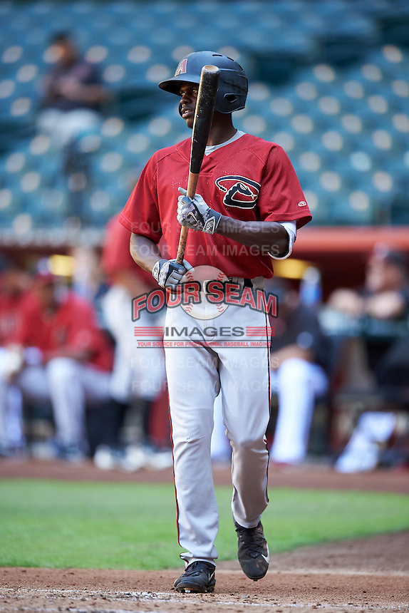 Arizona Diamondbacks Anfernee Grier (5) during an Instructional League game against the Oakland Athletics on October 15, 2016 at Chase Field in Phoenix, Arizona.  (Mike Janes/Four Seam Images)