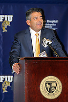 4 May 2012:  FIU Executive Director of Sports and Entertainment Pete Garcia speaks at a press conference during which the FIU Golden Panthers, currently a member of the Sun Belt Conference, formally announced their acceptance of an invitation to join Conference USA for all sports starting July 1, 2013, at the FIU Stadium Club in Miami, Florida.