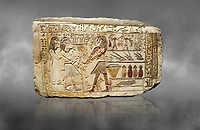 Ancient Egyptian stele showing Iti & Neferu receiving food offerings, First Intermediate Period, (2118-1980 BC), Gebelein, Tomb of Iti & Neferu,  Egyptian Museum, Turin. Grey background. Schiaparelli cat 13114.