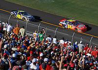Apr 29, 2007; Talladega, AL, USA; Nascar Nextel Cup Series driver Jeff Gordon (24) leads teammate Jimmie Johnson (48) during the Aarons 499 at Talladega Superspeedway. Mandatory Credit: Mark J. Rebilas