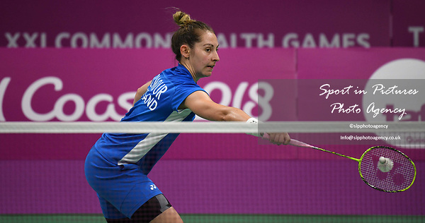 Kirsty GILMOUR (SCO) in the womens singles. Badminton. Mixed team event. XXI Commonwealth games. Carrara Sports hall 2. Gold Coast 2018. Queensland. Australia. 05/04/2018. ~ MANDATORY CREDIT Garry Bowden/SIPPA - NO UNAUTHORISED USE - +44 7837 394578