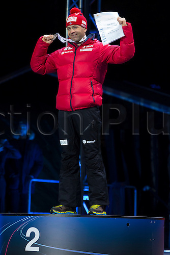 05.03.2016. Oslo Holmenkollen, Oslo, Norway. IBU Biathlon World Cup. Day One. Ole Einar Bjoerndalen of Norway second place  winner of  men 10km at the medal ceremony during the IBU World Championships Biathlon in Holmenkollen Oslo, Norway.