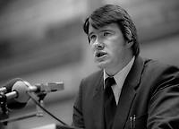 Ivan Yates, TD, Fine Gael, Rep of Ireland. He is the youngest member of the 22nd Dail, the Irish parliament, October 1982, 198210000198a<br /><br />Copyright Image from Victor Patterson, 54 Dorchester Park, <br />Belfast, UK, BT9 6RJ<br /><br />t1: +44 28 9066 1296 (from Rep of Ireland 048 9066 1296)<br />t2: +44 28 9002 2446 (from Rep of Ireland 048 9002 2446)<br />m: +44 7802 353836<br /><br />victorpatterson@me.com<br />www.victorpatterson.com<br /><br />Please see my Terms and Conditions of Use at VICTORPATTERSON.COM. It is IMPORTANT that you familiarise yourself with them.<br /><br />Images used on the Internet must be visibly watermarked i.e. &copy;VICTORPATTERSON.COM within the body of the image and copyright metadata must not be deleted. Images used on the Internet have a size restriction of 4kbs and are chargeable at the then current NUJ rates.<br /><br />This image is only available for the use of the download recipient i.e. television station, newspaper, magazine, book publisher, etc, and must not be passed on to any third party. It is also downloaded on condition that each and every usage is notified within 7 days to victorpatterson@me.com<br /><br />The right of Victor Patterson to be identified as the author is asserted in accordance with The Copyright Designs And Patents Act (1988).
