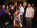 """Courtenay Collins, Isabelle McCalla, Beth Leavel, Caitlin Kinnunen, Christopher Sieber, Vasthy Mompoint, Brooks Ashmanskas, Angie Schworer, Josh Lamon and Michael Potts  During the Actors' Equity Opening Night Legacy Robe honoring Vasthy Mompoint for """"The Prom"""" at The Longacre Theatre on November 15, 2018 in New York City."""