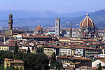 Europe, ITA, Italy, Tuscany, Florence, Typical view, Palazzo Vecchio and Cathedral....[ For each utilisation of my images my General Terms and Conditions are mandatory. Usage only against use message and proof. Download of my General Terms and Conditions under http://www.image-box.com or ask for sending. A clearance before usage is necessary...Material is subject to royalties. Each utilisation of my images is subject to a fee in accordance to the present valid MFM-List...Contact | archive@image-box.com | www.image-box.com ]