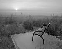 Bench and sunrise at Summer Lake Inn, Oregon