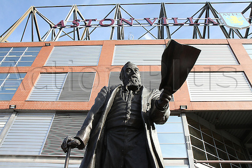 14.02.2016. Villa Park, Birmingham, England. Barclays Premier League. Aston Villa versus Liverpool.<br /> Statue of William McGregor, founder of the Football League outside the stadium