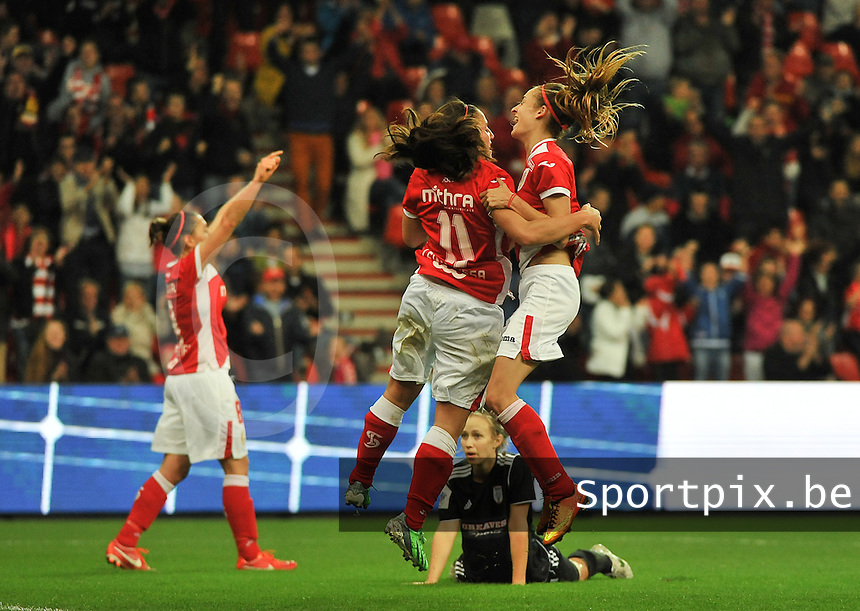 20131009 - LIEGE , BELGIUM : Standard  pictured celebrating their goal during the female soccer match between STANDARD Femina de Liege and  GLASGOW City LFC , in the 1/16 final ( round of 32 ) first leg in the UEFA Women's Champions League 2013 in stade maurice dufrasne - Sclessin in Liege. Wednesday 9 October 2013. PHOTO DAVID CATRY