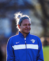 Boston Breakers forward Kyah Simon (17). In a National Women's Soccer League Elite (NWSL) match, the Boston Breakers (blue) tied the Washington Spirit (white), 1-1, at Dilboy Stadium on April 14, 2012.