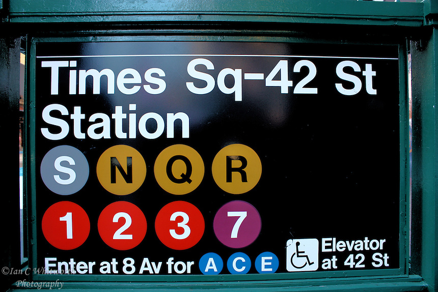 The Times Square subway sign at 42nd street