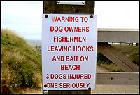 BNPS.co.uk (01202 558833)<br /> Pic:  RogerArbon/BNPS<br /> <br /> Signs have since been put up near the beach, warning dog owners of the dangers of fishing hooks.<br /> <br /> A pet owner has been left with a vets bill of over £7,000 after her dog ate a discarded fishing hook which ripped through its stomach.<br /> <br /> The Cavalier King Charles spaniel, aptly named Lucky, scoffed the two inch long barb while out for a beach walk.<br /> <br /> Owner Theresa Buckingham spotted fishing line protruding from Lucky's mouth and quickly realised there was a hook on the other end that he had swallowed. <br /> <br /> The pet  began yelping out and writhing in agony as the metal object slipped down his throat and ripped into his oesophagus.