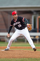 Davidson Wildcats starting pitcher Clark Beeker (26) in action against the Wake Forest Demon Deacons at Wilson Field on March 19, 2014 in Davidson, North Carolina.  The Wildcats defeated the Demon Deacons 7-6.  (Brian Westerholt/Four Seam Images)
