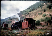 RGS #461, operated by the scrappers, northbound with caboose #0400 at Coke Ovens with water tank to left.  Kindig, Pfefier and Ronfor were all there, don't know which one took this photo.<br /> RGS  Coke Ovens, CO  9/16/1952