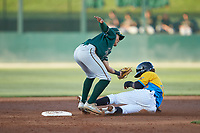 Greensboro Grasshoppers second baseman Ji-Hwan Bae (51) reaches for a throw as Ramon Beltre (1) of the Rapidos de Kannapolis steals second base at Kannapolis Intimidators Stadium on June 14, 2019 in Kannapolis, North Carolina. The Grasshoppers defeated the Rapidos de Kannapolis 4-1. (Brian Westerholt/Four Seam Images)