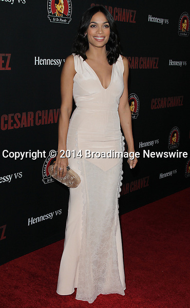 Pictured: Rosario Dawson <br /> Mandatory Credit &copy; Frederick Taylor/Broadimage<br /> Premiere Of Pantelion Films And Participant Media's &quot;Cesar Chavez&quot; - Arrivals<br /> <br /> 3/20/14, Hollywood, California, United States of America<br /> <br /> Broadimage Newswire<br /> Los Angeles 1+  (310) 301-1027<br /> New York      1+  (646) 827-9134<br /> sales@broadimage.com<br /> http://www.broadimage.com