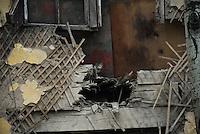 Houses damaged by Ukraine shelling.  Slavyanks, Ukraine.