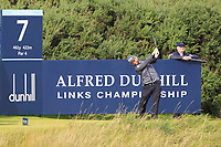 Andy Sullivan (ENG) on the 7th tee during Round 3 of the Alfred Dunhill Links Championship 2019 at Kingbarns Golf CLub, Fife, Scotland. 28/09/2019.<br /> Picture Thos Caffrey / Golffile.ie<br /> <br /> All photo usage must carry mandatory copyright credit (© Golffile | Thos Caffrey)