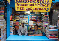 Small Book stores and vendors at Kolkata's College street near the University, West Bengal, India