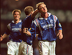 Jorg Albertz celebrates after scoring a screaming free-kick against Celtic, 1996