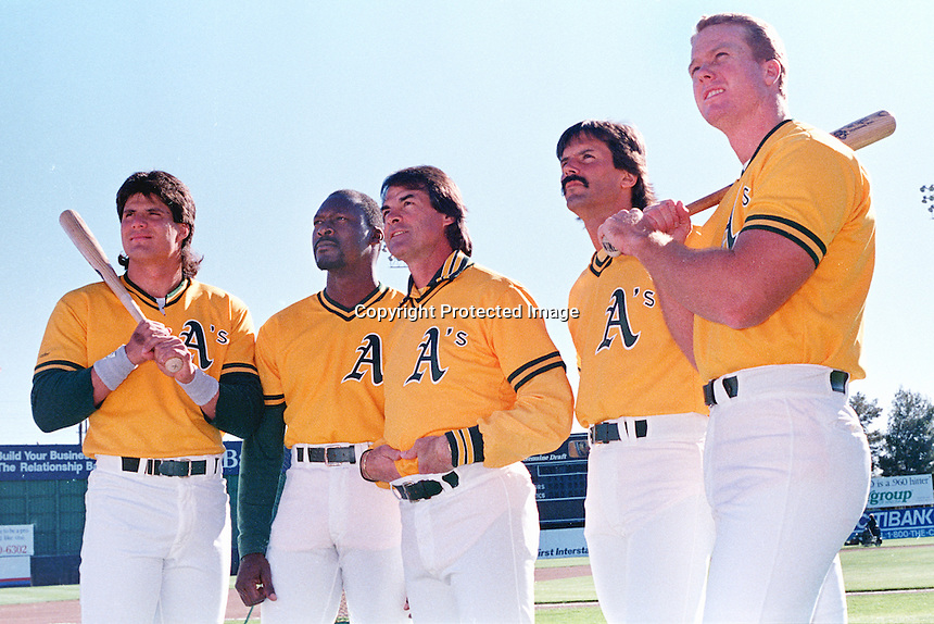 Oakland A's stars, L-R Jose Canseco, Dave Stewart, Mgr. Tong LaRussa, Dennis Eckersley, and Mark McGuire. (photo by Ron Riesterer)