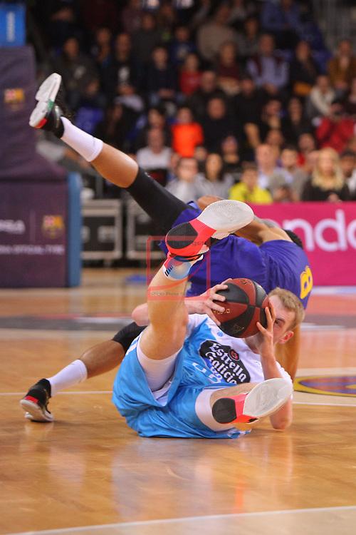 League ACB-ENDESA 2018/2019. Game: 14.<br /> FC Barcelona Lassa vs Monbus Obradoiro: 79-73.<br /> Adam Hanga vs Tryggvi Hlinason.