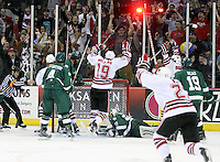 UNO celebrates Terry Broadhurst's goal during the third period. Bemidji State beat UNO 4-2 Friday night during the first round of the WCHA playoffs at Qwest Center Omaha. (Photo by Michelle Bishop)