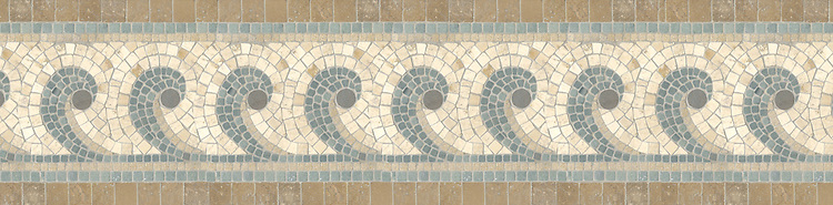 "10"" Hemingway border, a hand-cut stone mosaic, shown in tumbled Kays Green, Travertine White, Montevideo, Travertine Noce, and Fontenay Claire."