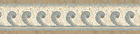 """10"""" Hemingway border, a hand-cut stone mosaic, shown in tumbled Kays Green, Travertine White, Montevideo, Travertine Noce, and Fontenay Claire."""