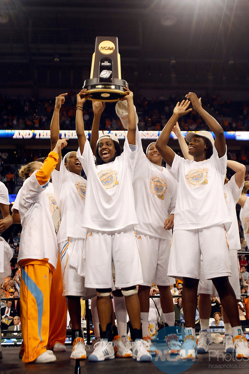 08 APR 2008:  The University of Tennessee celebrates their victory over Stanford University during the Division I Women's Basketball Championship held at the St. Pete Times Forum in Tampa, FL.  Tennessee defeated Stanford 64-48 for the national title.  Jamie Schwaberow/NCAA Photos