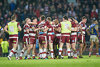 Picture by Allan McKenzie/SWpix.com - 13/04/2018 - Rugby League - Betfred Super League - Leeds Rhinos v Wigan Warriors - Headingley Carnegie Stadium, Leeds, England - Wigan celebrate victory over Leeds.