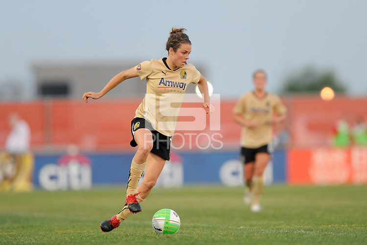 Kelley O'Hara (7) of FC Gold Pride. FC Gold Pride defeated Sky Blue FC 1-0 during a Women's Professional Soccer (WPS) match at Yurcak Field in Piscataway, NJ, on May 1, 2010.