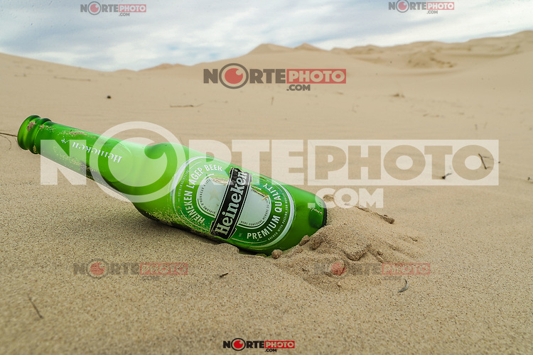 glass bottle, Heineken Pilsener beer. green bottle pollution and garbage in the sand dunes of the Samalayuca desert, Chihuahua Mexico. 52 km south of Ciudad Juárez in the middle of the desert area known as the Médanos de Samalayuca. This tourist and travel destination belongs to the Municipality of Ciudad Juárez in northern Mexico.<br />
