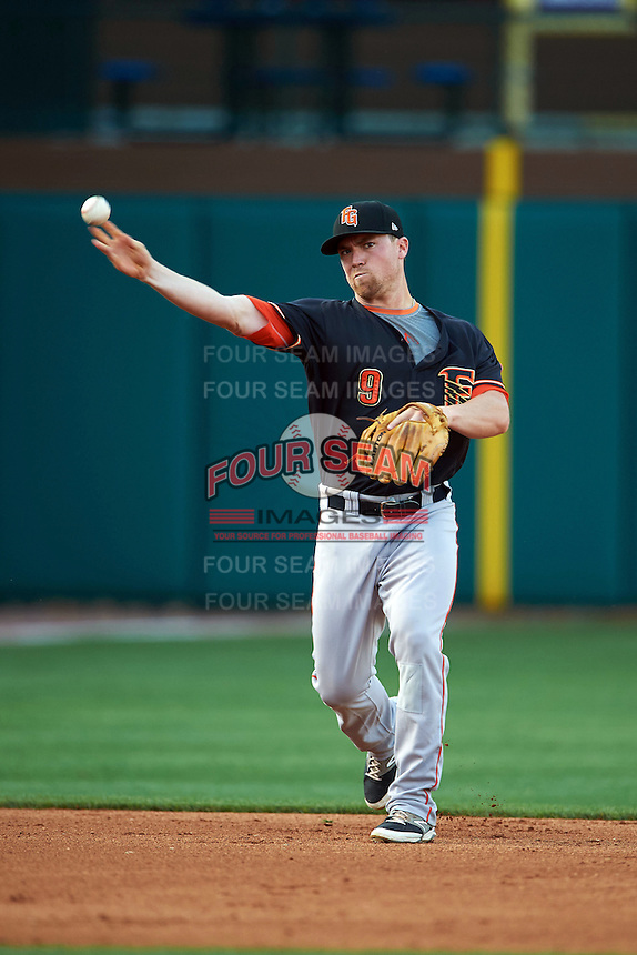 Fresno Grizzles second baseman Nolan Fontana (9) warmup throw during a game against the Oklahoma City Dodgers on June 1, 2015 at Chickasaw Bricktown Ballpark in Oklahoma City, Oklahoma.  Fresno defeated Oklahoma City 14-1.  (Mike Janes/Four Seam Images)