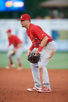 Palm Beach Cardinals first baseman Stefan Trosclair (28) during a game against the Charlotte Stone Crabs on April 21, 2018 at Charlotte Sports Park in Port Charlotte, Florida.  Charlotte defeated Palm Beach 5-2.  (Mike Janes/Four Seam Images)