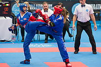 Gold medalist Gemma Upfold (L) of Great Britain and silver medalist Domenica Angelino (R) of Italy fight in the 1 PF 058 S F -70 kg final at the WAKO (World Association of Kickboxing Organizations) World Kick-boxing Championships in Budapest, Hungary on Nov. 10, 2017. ATTILA VOLGYI