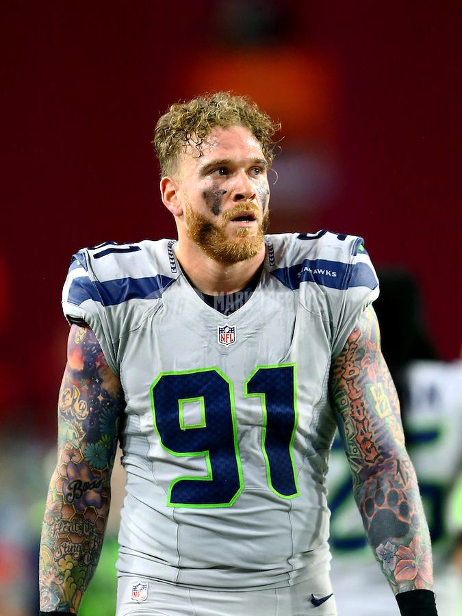 Jan 3, 2016; Glendale, AZ, USA; Seattle Seahawks defensive end Cassius Marsh (91) against the Arizona Cardinals at University of Phoenix Stadium. Mandatory Credit: Mark J. Rebilas-USA TODAY Sports