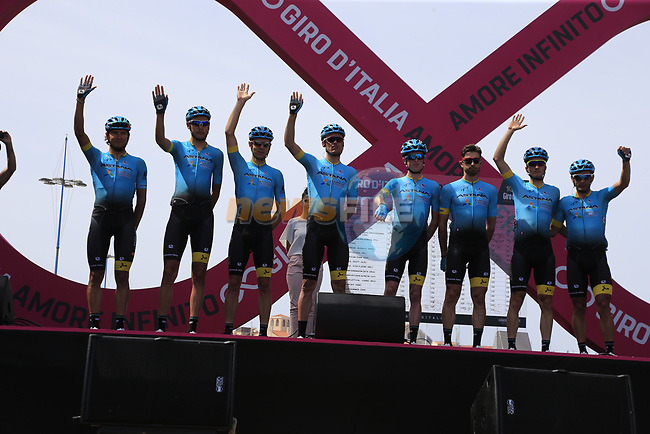 Astana Pro Team at sign on before Stage 1 of the 100th edition of the Giro d'Italia 2017, running 206km from Alghero to Olbia, Sardinia, Italy. 4th May 2017.<br /> Picture: Eoin Clarke | Cyclefile<br /> <br /> <br /> All photos usage must carry mandatory copyright credit (&copy; Cyclefile | Eoin Clarke)