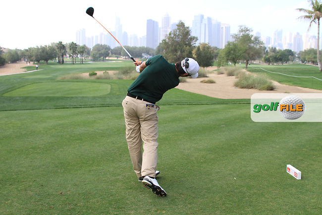 Matteo Manassero (ITA) teeing off on the 5th.on day one of the Omega Dubai Desert Classic 2011 on the Majlis Course, Emirates Golf Club, Dubai, UAE. 10/02/2011.Picture Fran Caffrey/www.golffile.ie.