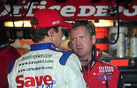 May 2, 2008; Richmond, VA, USA; NASCAR Sprint Cup Series driver Carl Edwards talks with crew chief Bob Osborne (right) during practice for the Dan Lowry 400 at the Richmond International Raceway. Mandatory Credit: Mark J. Rebilas-US PRESSWIRE