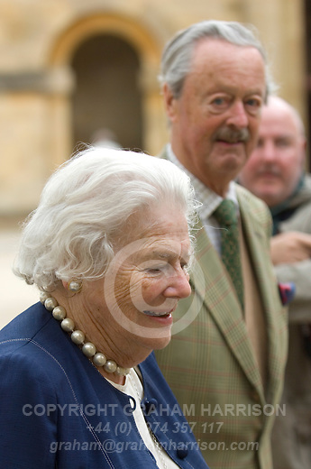 Lady Mary Soames, daughter of Winston and Clementine Churchill with the 11th Duke of Marlborough, John Spencer-Churchill at Blenheim Palace during the Woodstock Literary Festival, Oxfordshire. 18 September 2011...PHOTO COPYRIGHT GRAHAM HARRISON .graham@grahamharrison.com.+44 (0) 7974 357 117.Moral rights asserted.