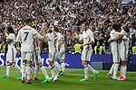 Carlos Henrique Casemiro,Cristiano Ronaldo,  Karim Benzema, Garet Bale, Marcelo Vieira  of Real Madrid celebrates after scoring a goal during the match of La Liga between Real Madrid and Futbol Club Barcelona at Santiago Bernabeu Stadium  in Madrid, Spain. April 23, 2017. (ALTERPHOTOS)