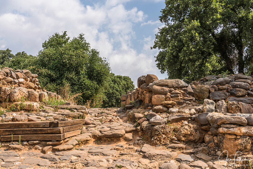 The gate to the Old Testament city of Dan in the Tel Dan Nature Reserve in Galilee in northern Israel.