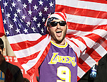 18 JUN 2010: A U.S. fan wearing a Los Angeles Lakers #9 jersey the day after the Lakers won the NBA championship. The Slovenia National Team played the United States National Team to a 2-2 at Ellis Park Stadium in Johannesburg, South Africa in a 2010 FIFA World Cup Group C match.