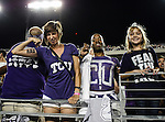 TCU fans party, watch and show their support for TCU before and during the game between the Grambling State Tigers and the TCU Horned Frogs  at the Amon G. Carter Stadium in Fort Worth, Texas. TCU defeats Grambling State 59 to 0.