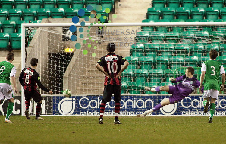 Hibernian friendly against Dublin's Bohemian FC..Chris Fagan scores a penalty for the Bohenian during the friendly match between Hibernian and Bohemian FC. At Easter Road Stadium on 21 March 2011 in Edinburgh, Scotland...Picture: Alan Rennie/Universal News and Sport (Scotland).